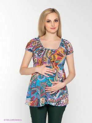 Блузка для беременных 40 недель. Цвет: желтый, голубой