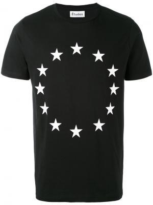 Футболка с принтом в виде флага Европы Études. Цвет: чёрный