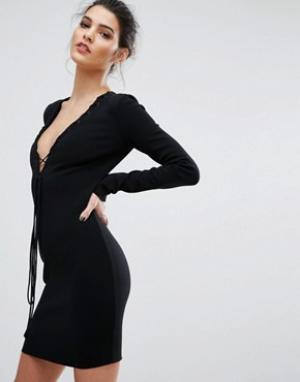 Bec & Bridge Платье с длинными рукавами и глубоким вырезом Warriors Ke. Цвет: черный