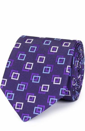 Шелковый галстук с узором Eton. Цвет: фиолетовый