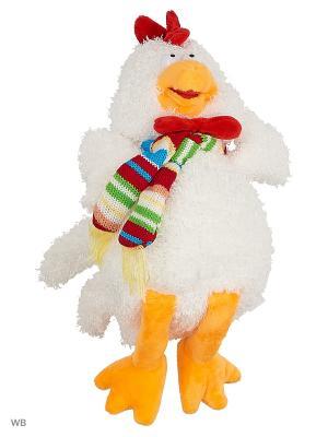 Мягкая игрушка Глазастый петушок в шарфе и с бантиком, 23см А М Дизайн. Цвет: белый, красный, оранжевый