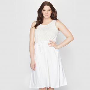 Платье из двух материалов TAILLISSIME. Цвет: белый