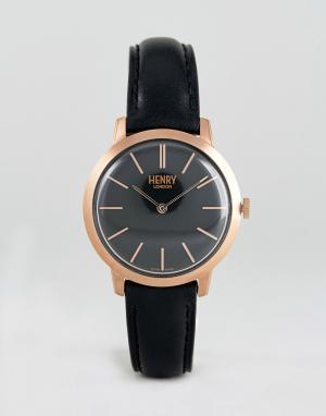 Henry London Часы с черным кожаным ремешком 34 мм. Цвет: черный