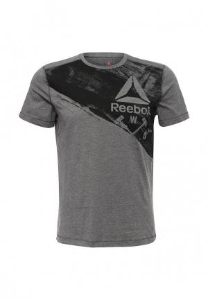 Футболка спортивная Reebok. Цвет: серый
