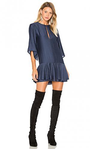 Платье с рюшами beckman PFEIFFER. Цвет: синий