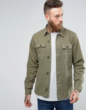 Hoxton Shirt Company Куртка узкого кроя в стиле милитари. Цвет: зеленый