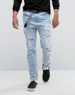 ASOS Голубые зауженные джинсы с рваной отделкой. Цвет: синий