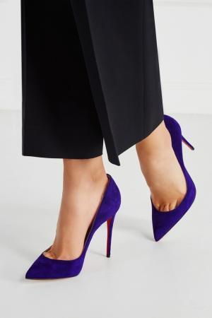 Замшевые туфли Pigalle Follies 100 Christian Louboutin. Цвет: фиолетовый