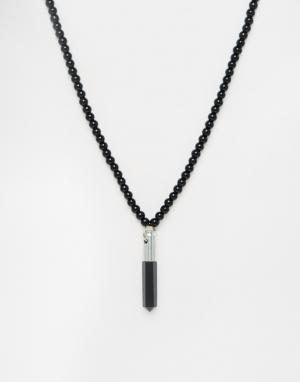 Love Bullets Ожерелье из бусин с черным агатом Lovebullets. Цвет: черный