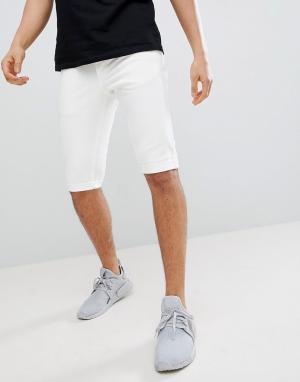 Mennace Белые джинсовые шорты скинни. Цвет: белый