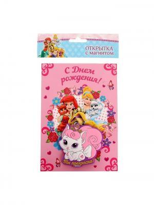 Открытка с магнитом, Принцессы Disney. Цвет: черный, золотистый, кремовый, розовый, фуксия