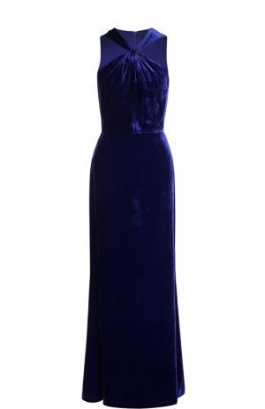 Приталенное бархатное платье-макси St. John. Цвет: синий
