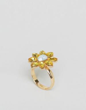 Johnny Loves Rosie Броское кольцо с цветочной отделкой и камнями. Цвет: золотой