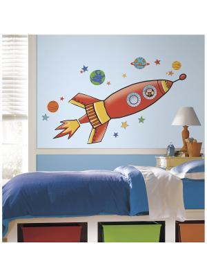Наклеки для декора Ракета, большой формат ROOMMATES. Цвет: красный, оранжевый, желтый, белый, черный, синий, зеленый, серый, голубой