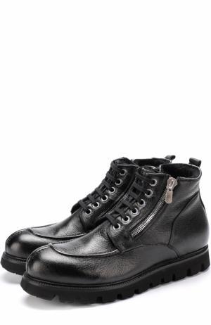 Кожаные ботинки на шнуровке с молнией Rocco P.. Цвет: черный