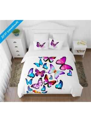 Постельное белье ДУЭТ (семейное) Кпб Яркие бабочки Сирень. Цвет: белый, зеленый, красный