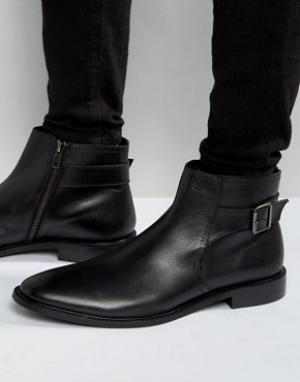 Dune Черные кожаные ботинки челси с пряжкой. Цвет: черный