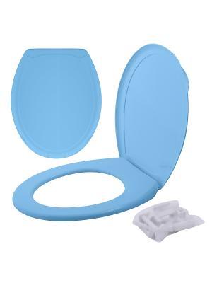 Сиденье для унитаза с крышкой МультиДом. Цвет: голубой