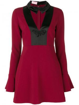 Короткое платье с заостренным воротником Giamba. Цвет: красный