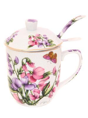 Кружка с металлическим ситом Душистый цветок Elan Gallery. Цвет: фиолетовый, белый, розовый