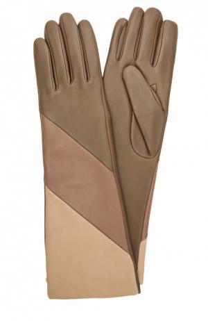 Удлиненные кожаные перчатки с подкладкой из шерсти Agnelle. Цвет: коричневый