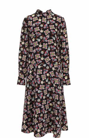 Шелковое платье с воротником аскот и ярким принтом Valentino. Цвет: черный