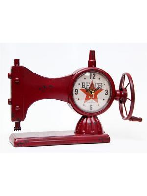 Часы Швейная Машинка настольные кварцевые  33x12x23 Magic Home. Цвет: красный