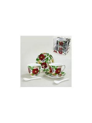 Набор чайный с ложками 4 пр. БАБОЧКИ НАД ШИПОВНИКОМ KWESTOR. Цвет: белый