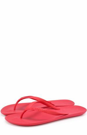 Резиновые шлепанцы с тиснением A. Testoni. Цвет: красный