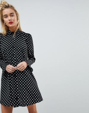 ASOS Платье-рубашка в горошек с длинными рукавами. Цвет: мульти