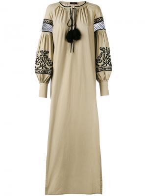 Платье с вышивкой и кисточками Wandering. Цвет: зелёный