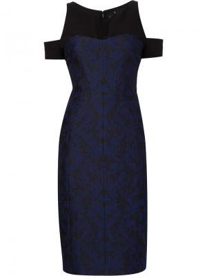 Жаккардовое платье с открытыми плечами J. Mendel. Цвет: синий