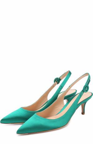Атласные туфли Jackie с ремешком Gianvito Rossi. Цвет: зеленый