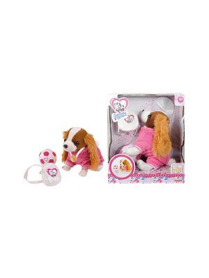 Кокер-спаниель плюшевая собачка,с рюкзаком, медалью и мячиком, 20 см.,1/12 Simba. Цвет: розовый, белый, коричневый