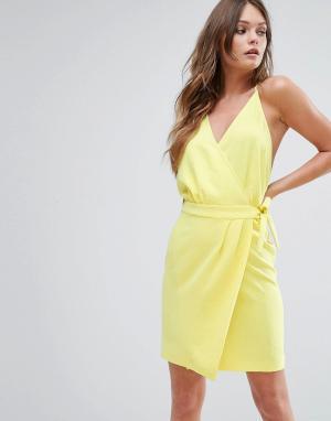 BA&SH Желтое платье мини с запахом. Цвет: желтый