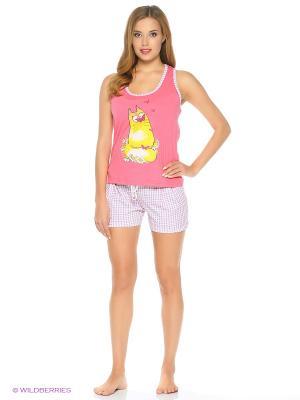Пижама-майка-борцовка, шорты NAGOTEX. Цвет: розовый