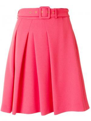 Плиссированная юбка с пряжкой на поясе Boutique Moschino. Цвет: розовый и фиолетовый
