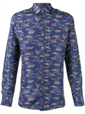 Рубашка Evolutive Cranes Lanvin. Цвет: синий