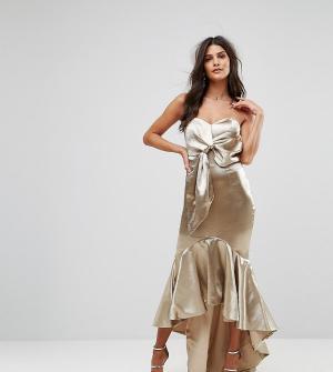 Jarlo Платье миди с запахом, широким вырезом и асимметричным краем. Цвет: золотой