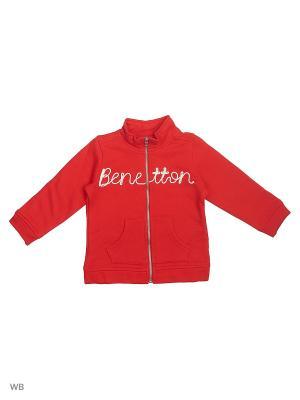 Толстовка United Colors of Benetton. Цвет: красный, бежевый