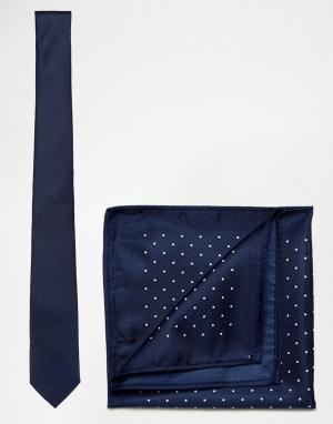 New Look Темно-синий однотонный галстук и платок для нагрудного кармана в горош. Цвет: темно-синий