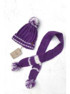 Комплект детский: шапка, шарф Sava. Цвет: белый, фиолетовый