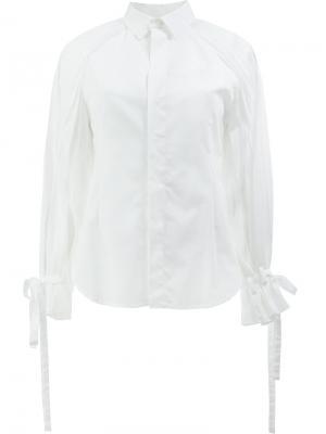 Рубашка с завязками на рукавах Facetasm. Цвет: белый