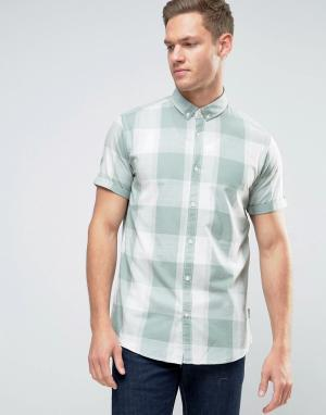 Jack & Jones Рубашка в клетку с короткими рукавами Originals. Цвет: зеленый