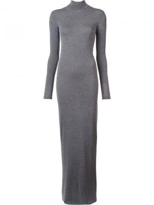 Удлиненное трикотажное платье Gareth Pugh. Цвет: серый