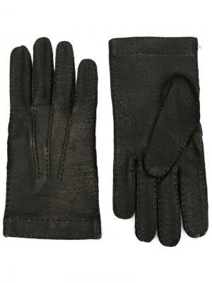 Кожаные перчатки Restelli. Цвет: чёрный