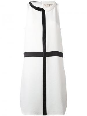 Платье шифт с контрастной окантовкой Cotélac. Цвет: белый