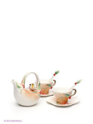 Чайный набор Пташка на падубе 2 персоны Pavone. Цвет: рыжий, кремовый