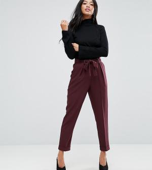 ASOS Petite Тканые брюки-галифе с поясом оби. Цвет: красный