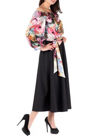 Платье Mannon. Цвет: черно-персиковый